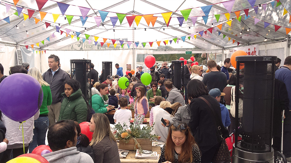 The busy Dine In Dine Out marquee